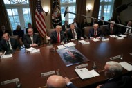 Trump Shouts Out Kanye in Front of Parody <em>Game of Thrones</em> Poster at First Cabinet Meeting of 2019