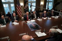 Trump Poses with Game of Thrones Parody Poster at Insane Cabinet Meeting
