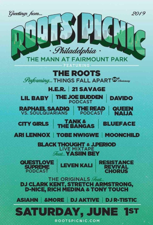 Roots Picnic 2019 Lineup: 21 Savage, H E R , Lil Baby, More