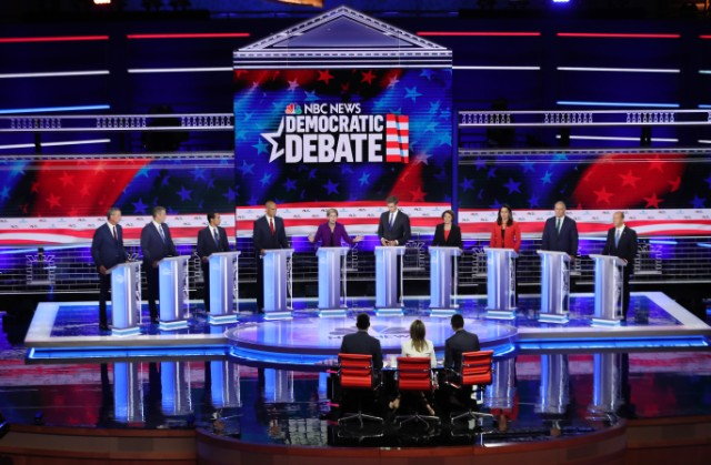 Democratic presidential candidates during night one of the debate