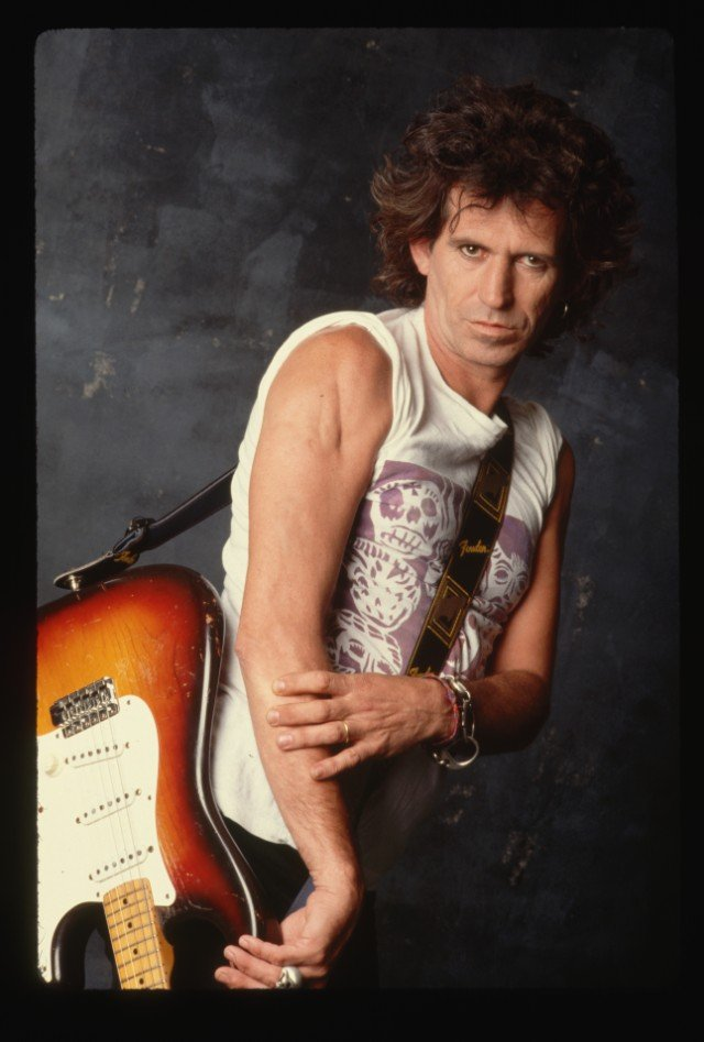 Keith Richards Posing with Electric Guitar