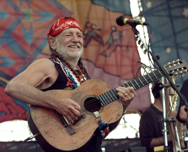 Willie Nelson performing during Woodstock '99.