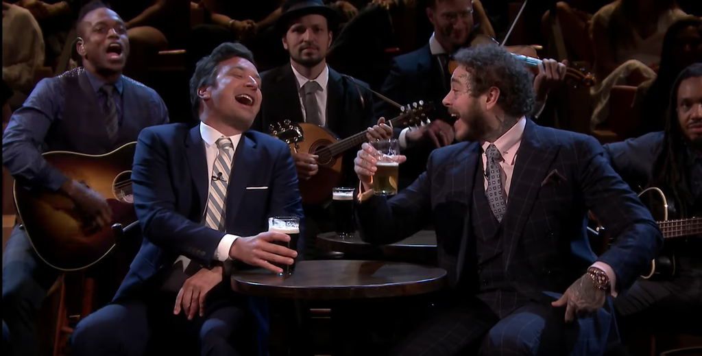 Post Malone Sings Drinking Song, Plays Beer Pong on 'Fallon': Watch
