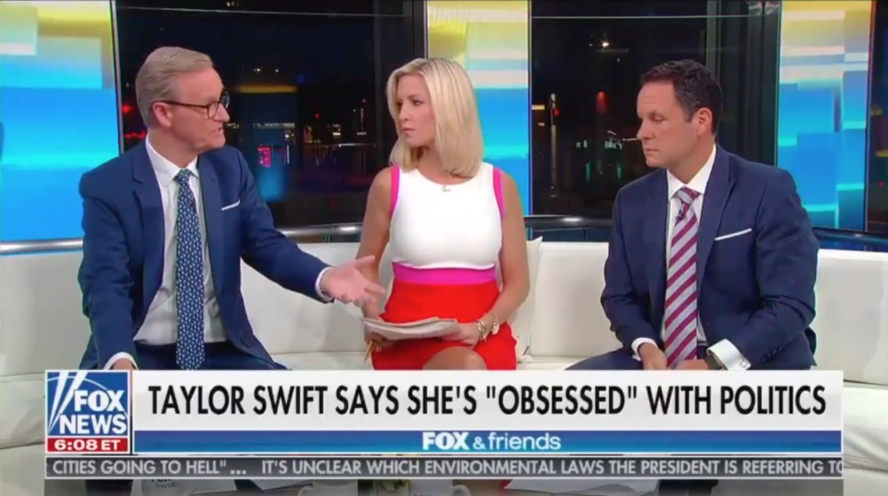 'Fox & Friends' hosts Ainsley Earhardt, Brian Kilmeade, and Steve Doocy attempted to criticize Taylor Swift's 'Rolling Stone' interview in which she identifies as a Democrat. Watch.