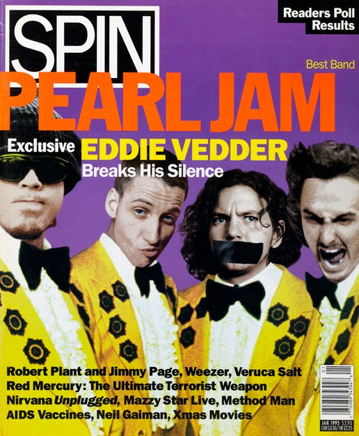 Pearl Jam on the cover of SPIN's January 1995 issue