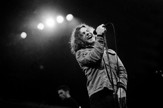 Eddie Vedder of Pearl Jam performing in 1994