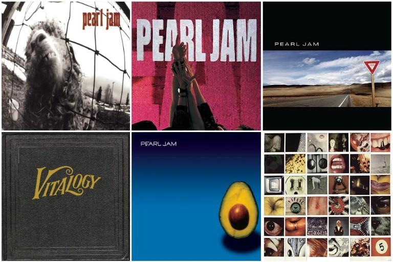 Pearl Jam album covers: Vs., Ten, Yield, Vitalogy, No Code and Pearl Jam