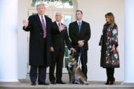 Donald and Melania Trump Avoid Touching Conan the Dog While Honoring Canine Hero
