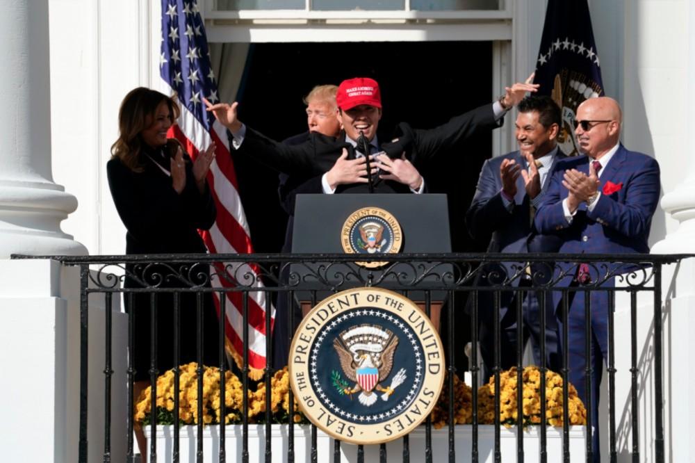 Donald Trump Hugs Kurt Suzuki From Behind at White House