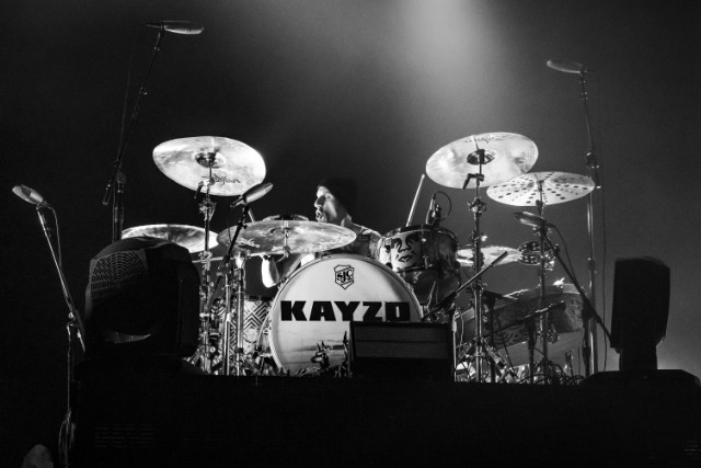 Frank Zummo of Sum 41 playing drums for Kayzo