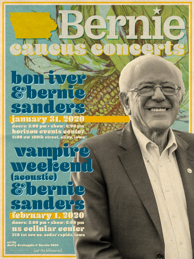 Bernie Sanders caucus concerts Bon Iver and Vampire Weekend