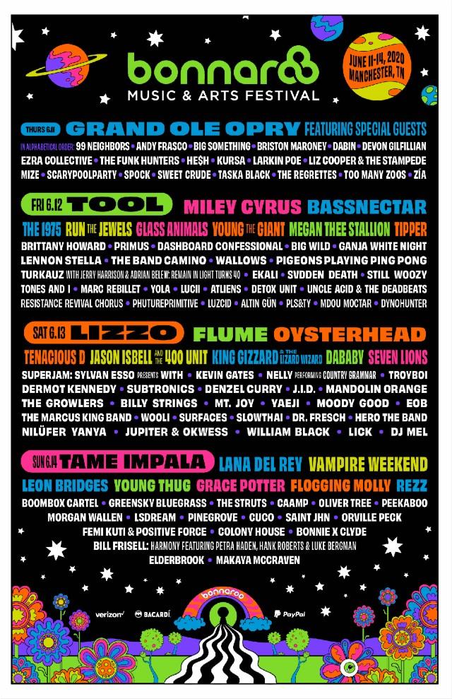 Bonnaroo 2020 lineup poster