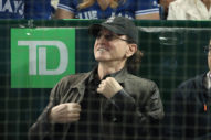 Geddy Lee Cutout Takes In Toronto Blue Jays Game