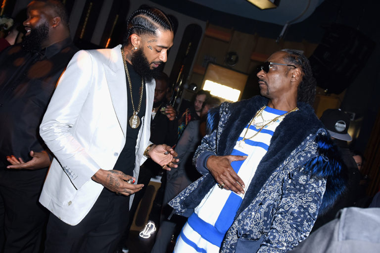Nipsey Hussle and Snoop Dogg at 2019 Grammy Party