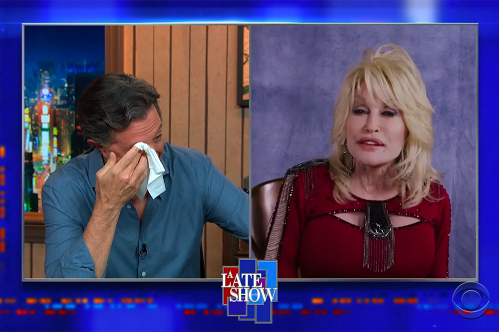 Stephen Colbert cries while Dolly Parton sings