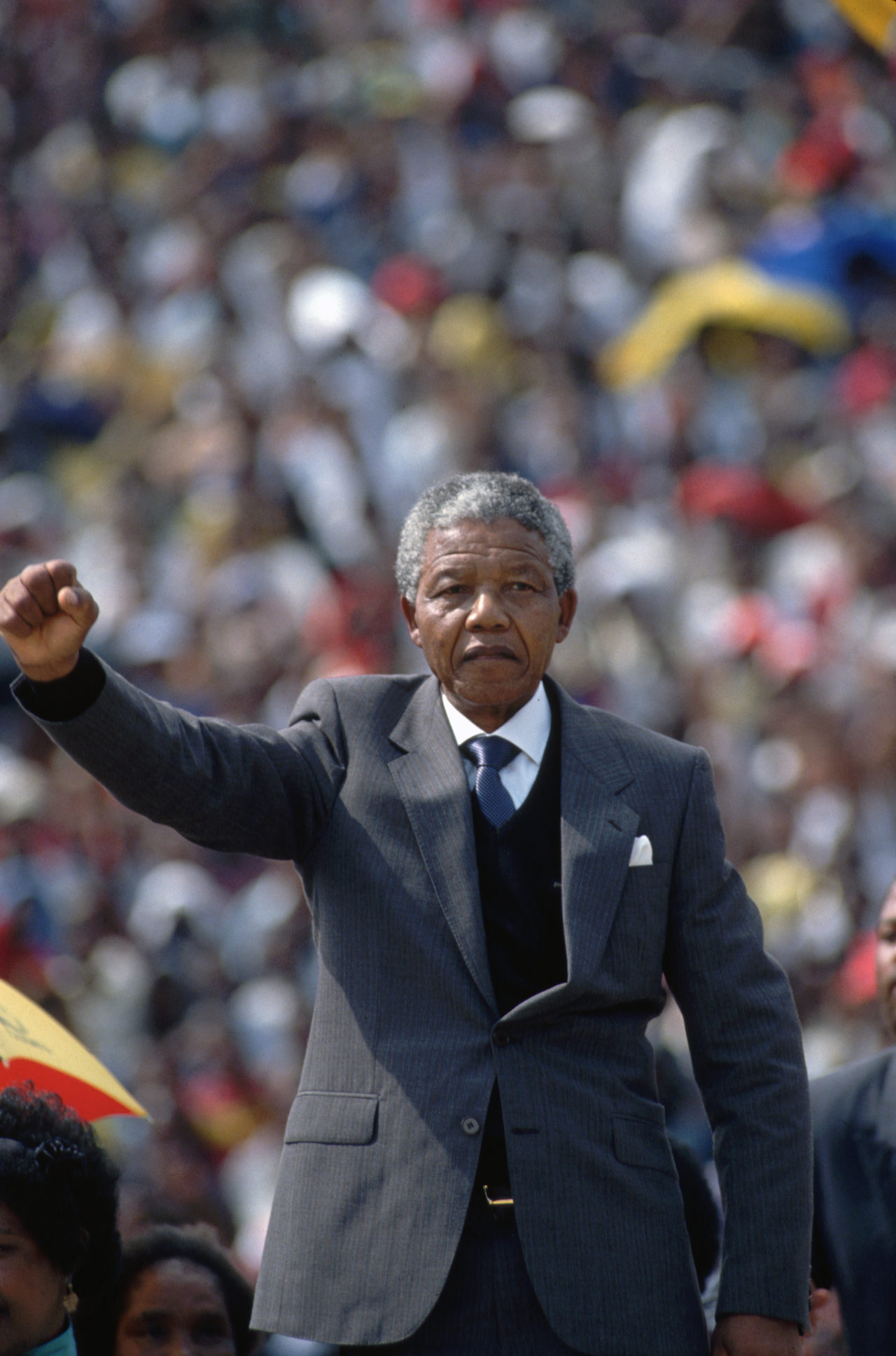 Nelson Mandela Raising Fist to Crowd
