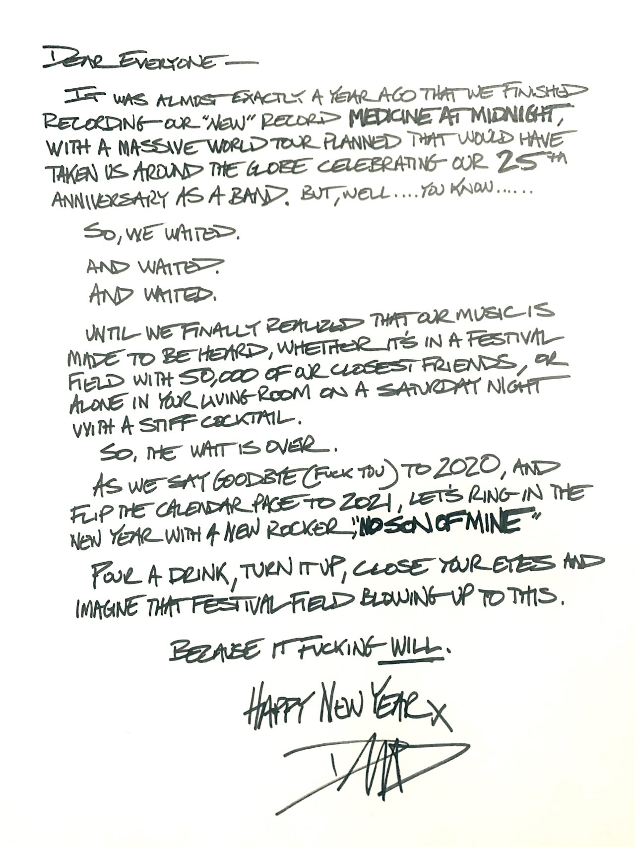 Dave Grohl letter