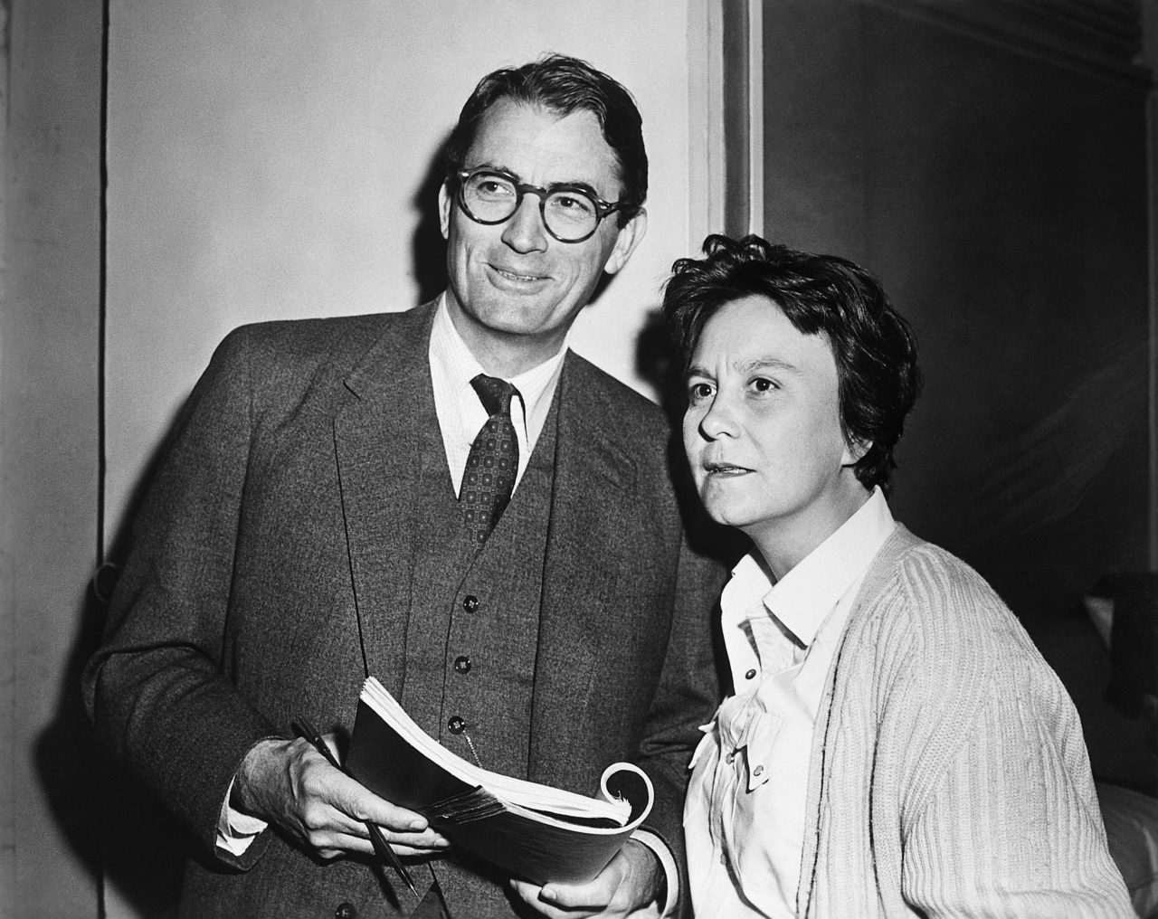 Gregory Peck and Harper Lee on Set of To Kill a Mockingbird