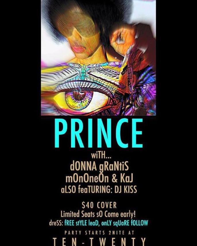 Prince Paisley Park October 2015 flyer