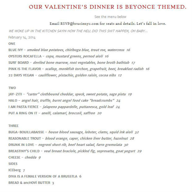 Pasta Fierce: Beyonce-Themed Valentine's Day Menu Will Get You Full