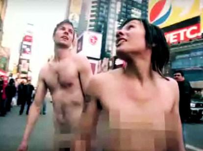 naked matt anf kim times square