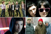 Clockwise: The Strokes, The Kills, Beastie Boys, Drake