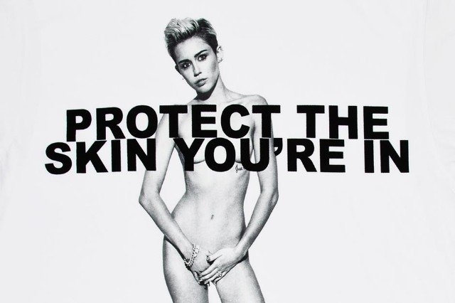 Miley Cyrus nude naked shirt protect your skin
