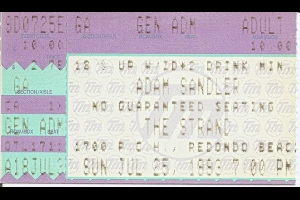 Ticket stub from Adam Sandler's show at The Strand, Redondo Beach, 1993 / Photo by wristbanddiaries.blogspot.com