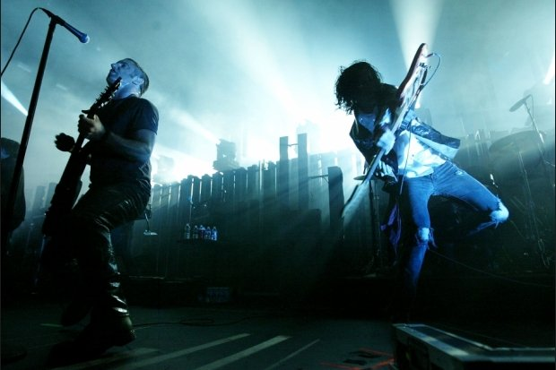 Trent Renzor and Aaron North of NIN perform at Gibson Ampitheater on December 10, 2005 in Los Angeles / Photo by Getty Images