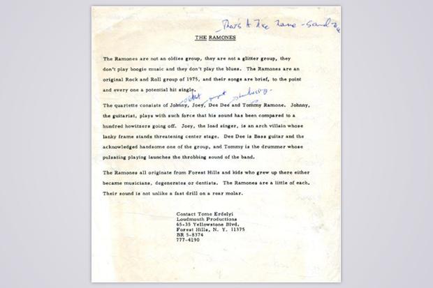 Ramones press release