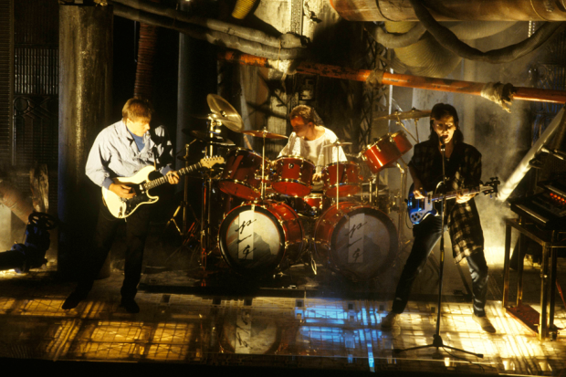Rush performing on set of video for