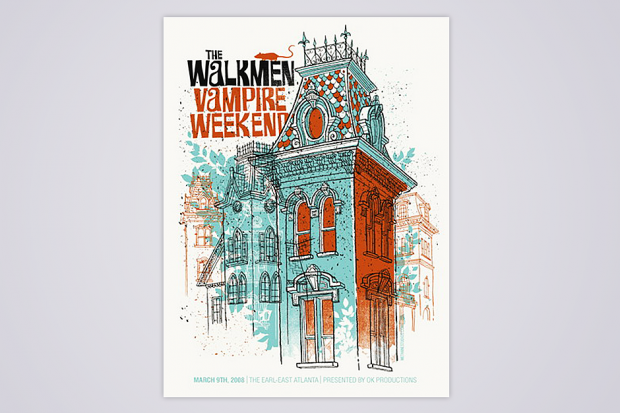 The Walkmen/Vampire Weekend poster from their 2008 Atlanta show