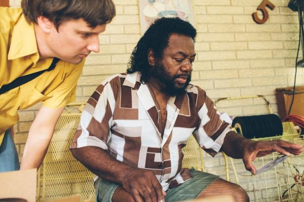Ken Shipley and Louis Dunn on Dunn's patio. (Photo by Daymon Gardner)