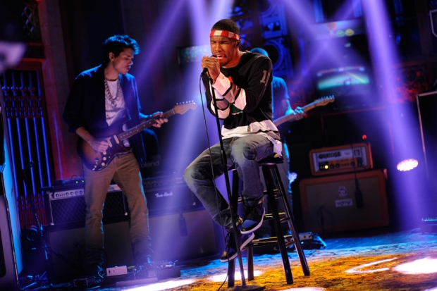 Frank Ocean performs on <i>Saturday Night Live</i> backed by John Mayer, September 2012 / Photo by  Dana Edelson/NBC