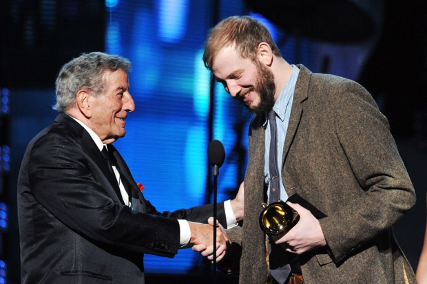 Justin Vernon accepts the Grammy for 'Best New Artist' from Tony Bennett / Photo by Kevin Winter/Getty