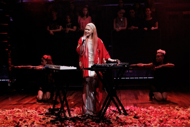 Grimes performs on <i>Late Night with Jimmy Fallon</i>, August 2012 / Photo by Lloyd Bishop/NBC/NBCU Photo Bank via Getty