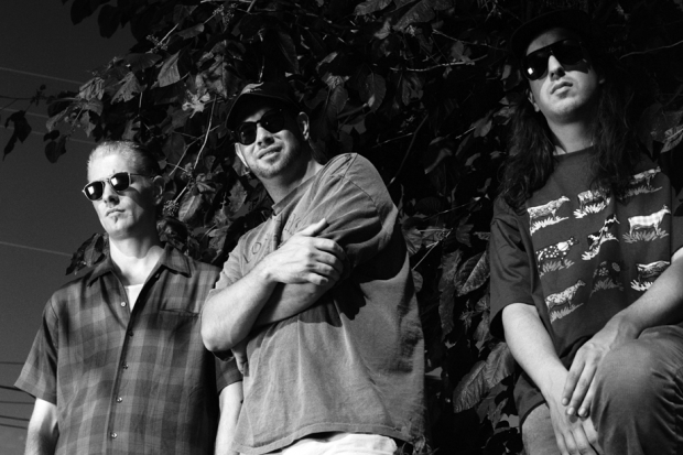 Dinosaur Jr. in July, 1993: (From left) Mike Johnson, Murph, J Mascis  / Photo by Bob Berg/Getty