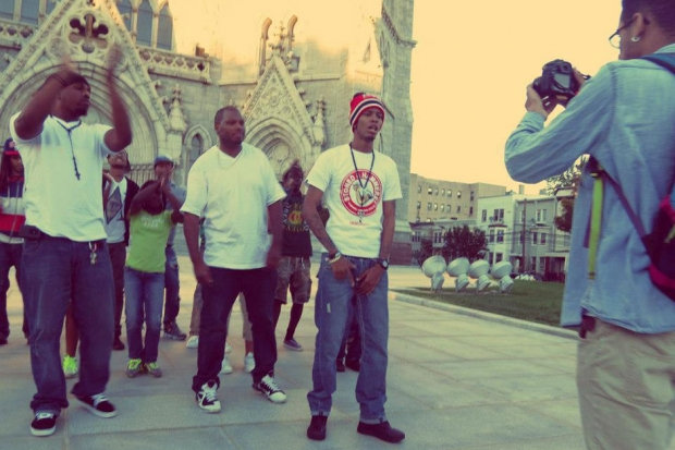 """DJ Joker, DJ Tameil, and JayHood filming the video for """"Skip To My Lou"""" / Photo by Clouded Images Photography"""