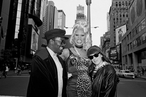 Fab Five Freddy, RuPaul, and Tommy Boy Records executive Monica Lynch, 1992 / Photo by Catherine McGann/Getty Images
