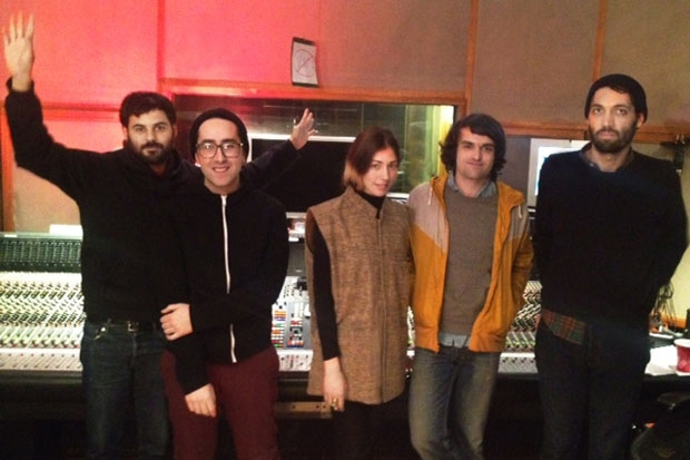 Delorean in the studio with Chairlift's Caroline Polachek / Photo by Chris Zane