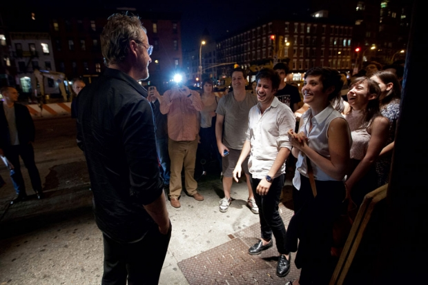 Matt Berninger greets fans outside of Mercury Lounge in Manhattan / Photo by David Andrako