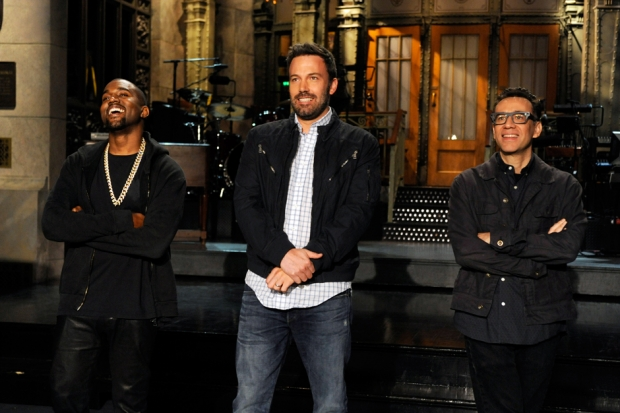 Kanye, Ben Affleck, Fred Armisen on 'Saturday Night Live' set, May 16, 2013 / Photo by Dana Edelson/NBC/Getty