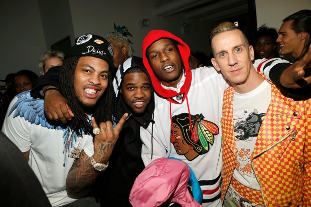 Waka Flocka Flame, A$AP Ferg, A$AP Rocky and Jeremy Scott at Scott's fall 2013 fashion show. / Photo by Getty Images