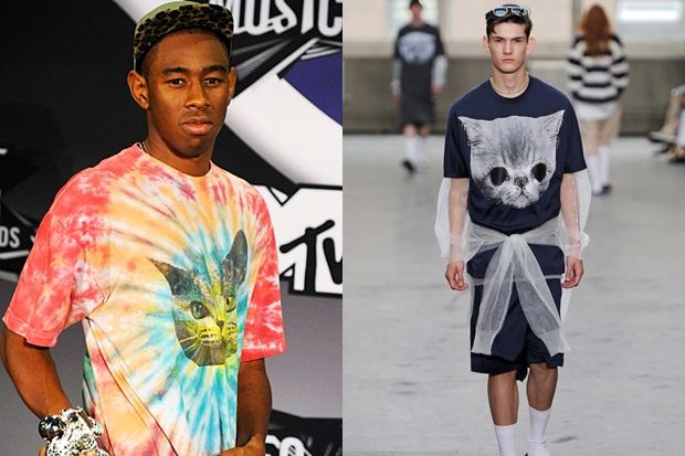 A t-shirt from designer Shaun Samson openly followed Odd Future's lead / Photos by Getty Images and MCV Photo