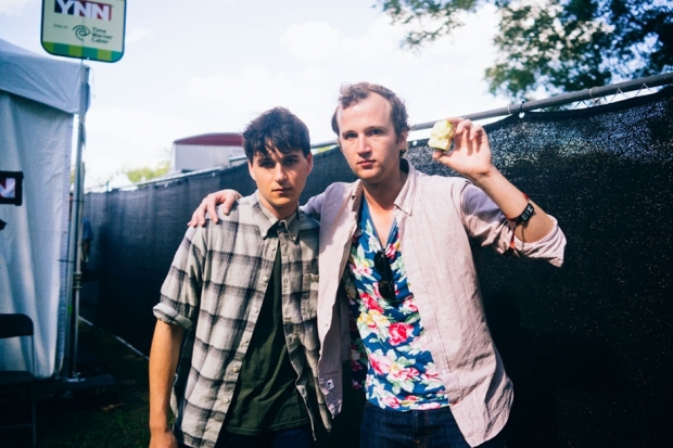 Half of Vampire Weekend, Ezra Koenig and Chris Baio, at ACL, 2013 / Photo by Chad Wadsworth