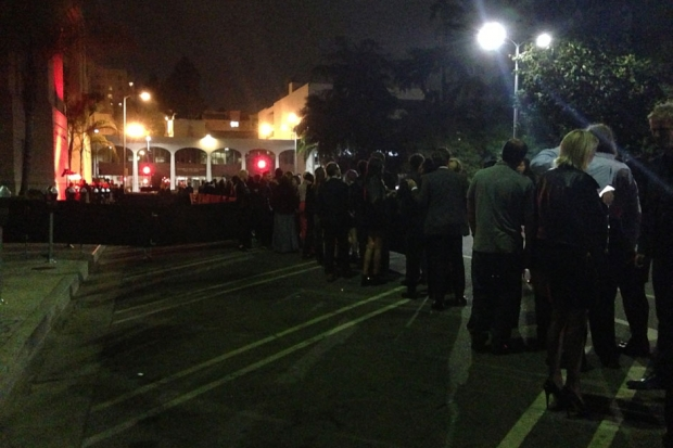 The line outside Daft Punk's Grammy Afterparty, Park Plaza, Los Angeles / Photo by Jem Aswad
