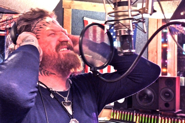 Mastodon's lead guitarist Brent Hinds recording vocals at Rock Falcon Studios, Franklin, Tennessee / Photo by Max Cooper