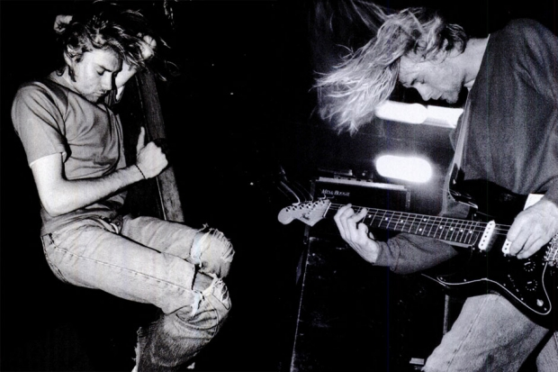 Cobain curls up and dreams of unripped jeans, then lets his Mesa out to boogie, 1991