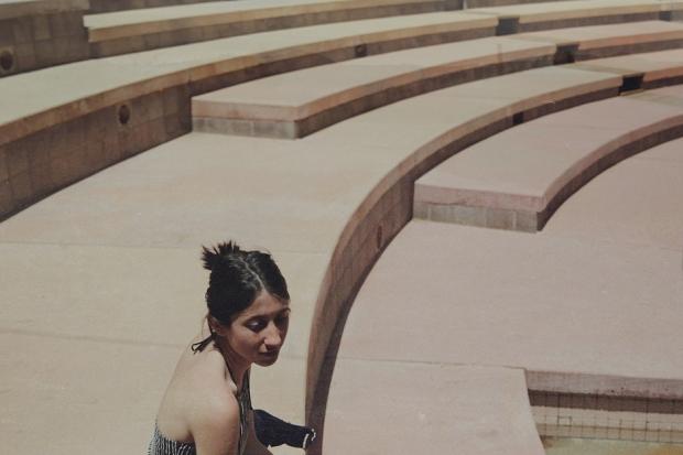 Nicole Miglis in the Arcosanti amphitheater