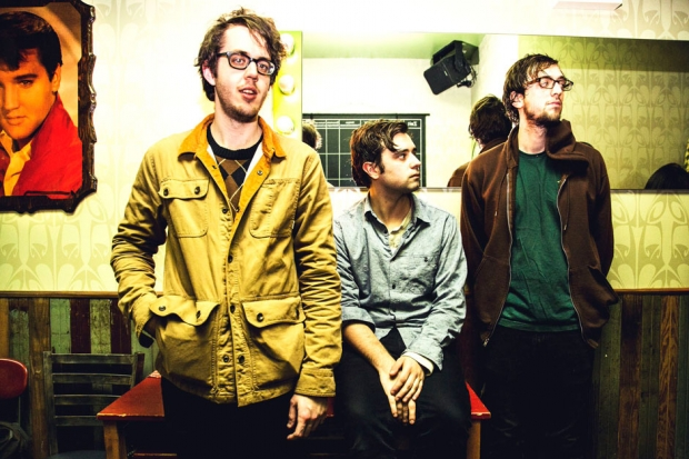 Cloud Nothings (l-r): Dylan Baldi, TJ Duke, and Jayson Gerycz in Brooklyn. / Photo by Krista Schlueter for SPIN